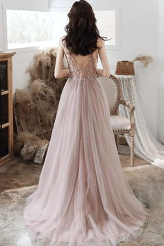 CUTE V NECK TULLE LONG A LINE PROM DRESS EVENING DRESS cg20907 – classygown