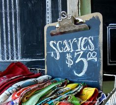 Chalkboard paint on a clipboard. Such a great idea for craft show prices that might change!