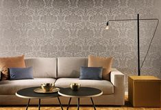Streetwise to the bone, obsessed with stylish wallpaper? Classic Wallpaper, Damask, Love Seat, Beige, Couch, Throw Pillows, Living Room, Elegant, Room Wallpaper