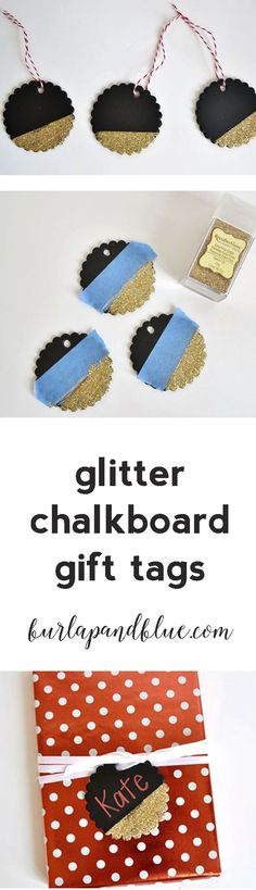 glitter chalkboard gift tags! an easy mod podge project!
