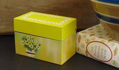Vintage Yellow Floral Metal Ohio Art Recipe Box Holder, Yellow Daisy, Recipe Keeper, Mid Century Tin Storage Container, Yellow Kitchen Decor by AgsVintageCove on Etsy