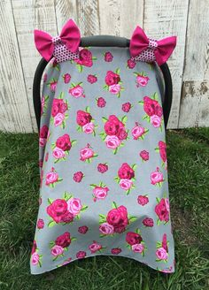 Custom Baby Girl Car Seat Cover Set Cottage Chic Roses Canopy Tent Infant Pink Flowers Carseat CCover