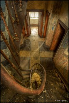 Luxembourg -The majestic old farm of the Heinen family, spiral staircase