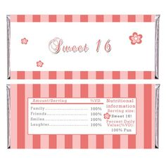 Personalized Printable Adult Birthday Candy Bar Wrapper - Sweet 16 Quinceanera Chocolate Wrappers Stripes Coral Party Supply and Decoration