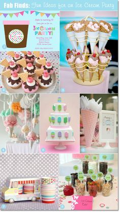 Vintage ice cream party theme, favors, decorations, cupcakes #birthdayparty #icecreamtheme #vintage