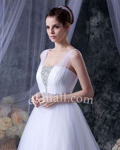 A-line Wedding Dresses Straps Chapel Train Tulle Satin White 010010100644