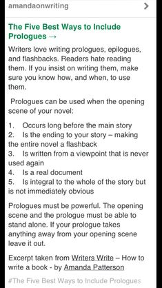 Including a prologue