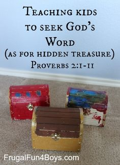 Teaching Kids to Seek God's Word (As for Hidden Treasure A powerful way to encourage kids to seek out their own salvation! Great for scripture memorization for kids, but also meaningful, as they are choosing their OWN scriptures! Bible Study For Kids, Bible Lessons For Kids, Kids Bible, Preschool Bible, Bible Activities, Sunday School Lessons, Sunday School Crafts, Proverbs For Kids, Proverbs 2