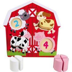 Puzzle hračka zvieratká na farme pozostáva z drevenej dosky, na ktorej sú vyobrazené štyri zvieratká: pes, krava, prasa a ovca. Úlohou dieťatka je umiestniť správne kocky do správneho tvaru a doplniť tak telo zvieratka. Dieťa sa tak hravou formou zoznámi s tvarmi a počtami.