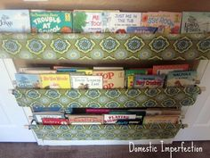 Wall slings for books/magazines/craft books in craft room.