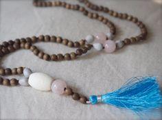 Beachy #prayer beads. Love #Mala #necklace #Pink #rose quartz #108 Wood bead by ThePillowBook, $68.00 #blue #yoga #namaste