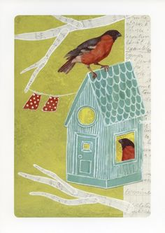 Items similar to At home- Print on Etsy Bird, Handmade Gifts, Outdoor Decor, Prints, Etsy, Vintage, Finland, Design, Home Decor