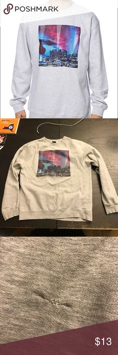 Primitive LA City Lights Sweatshirt Purchased at Zumies. Machine dried a few times so can fit S/M.  Pic 3 shows a small tear that was stitched up. Completely unnoticeable when worn. Primitive Shirts Sweatshirts & Hoodies