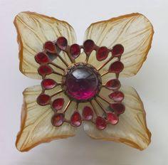 Louise-Laure Beauferey Art Nouveau Floral Brooch Horn Metal Enamel H: 4.8 cm (1.89 in) W: 4.8 cm (1.89 in) French, c.1910. via mordmardok