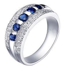 14K White Gold-Filled Ring w/ Sapphire for Men & Women