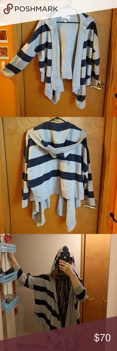 Oversized Hoodie Wrap Cardigan Amazing unique hoodie with long front and short back. Heather grey with navy blue stripes. So comfy and perfect for Spring! USA made. Size small but could fit xs, m, l as well AIKO Tops Sweatshirts & Hoodies