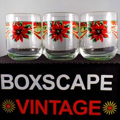 Vintage KIG Christmas Glasses, Drinking Glasses, Poinsettia Glassware, Christmas Table Decor, Xmas Glasses, Vintage Christmas, Set of Three