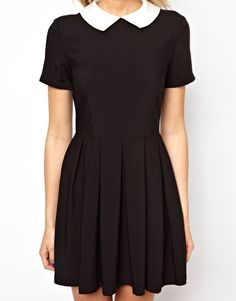 Image 3 ofLavish Alice Structured Skater Dress With Contrast Collar
