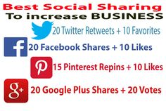 Most Effective and Combined best social signals in this gig only on fiverr.  ****  20 Twitter retweets along with 10 Favorites  ****  20 Facebook shares and 10 Likes  ****  20 Google Plus One shares with 20 Votes  ****  15 Pinteres Repins + 10 Likes  These are High PR social sites trusted by All Search Engines.   Accept: Website / Video / Blog / YT Video / Facebook Post / Twitter Tweets etc. #socialsignals #seo #pinterestRepins #facebookshares #googleplusshares #twitterretweets