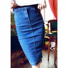 $7.06 Concise Retro Style Slim-Fit High Waist Denim Skirt For Women
