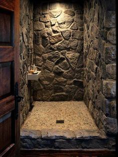 Bathroom Decor Ideas quite Rustic Bathroom Tile Design Ideas Cabin Bathrooms, Rustic Bathrooms, Dream Bathrooms, Primitive Bathrooms, Stone Shower, Stone Bathroom, Rock Shower, Bathroom Small, Modern Bathroom