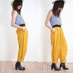 yellow harem pants striped shirt black boots hipster trendy womens fashion apparel accessories hat black belt