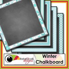 Winter Chalkboard Papers contains 5 square digital papers with a chalkboard finish and a Winter frame. These Winter Chalkboard Papers will be perfect for your product covers, classroom posters, signs etc. The frame is already on the 8inch x 8inch paper, so easily just add your text and clip art for a professional finish. Winter Chalkboard Papers by RebeccaB Designs.