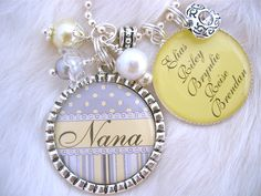Personalized Mother Grandmother Nana Necklace Bottle cap Jewelry Wedding Keychain,Children's Names Necklace,Mom, Shabby Chic. $23.50, via Etsy.