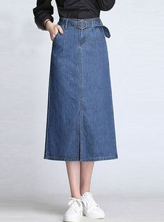 Fashion Slim Slit Solid Color Denim Skirt - Things to wear - Modest Casual Outfits, Cute Teen Outfits, Short Outfits, Modest Fashion, Demin Skirt, Denim Skirt Outfits, Denim Outfit, Denim Fashion, Skirt Fashion