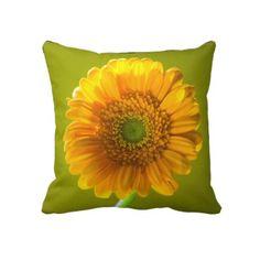 Yellow Daisy Gerbera #Flower Throw #Pillow $67.45