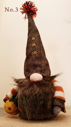 Thanksgiving Gnome from Plymouth Halloween Gnome Very Uniqu Christmas Gift Decorations, Thanksgiving Decorations, Halloween Decorations, Christmas Crafts, Thanksgiving Diy, Plymouth, Christmas Knomes, Gnome Hat, Fall Sewing