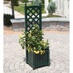 One on each side of the entryway. Solid Wood Lexington Planter with Trellis - Trellises at Simply Arbors