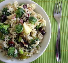 "Creamy Brown Rice, Broccoli, & Apple Salad - LOVE the ""Poor Girl Eats Well"" Blog! :)"