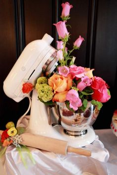 LOVE! Flower Mixer centerpiece for kitchen bridal shower theme