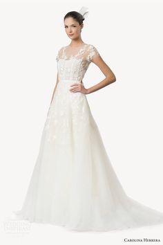Carolina Herrera Dagma - Beaded gown will illusion top - available at Julian Gold Bridal