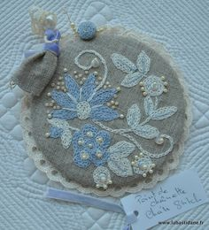 Chain stitch flowers and leaves