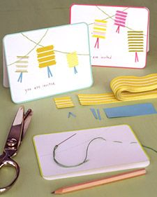 """Set a playful tone for summer parties with lantern-themed invitations. Start by penciling lines for """"ropes"""" on plain cards. Punch holes with a tack every 1/2 inch; erase lines. Using knotted embroidery floss, sew running stitches along each line, then double back, filling in spaces between stitches. With pinking shears, cut """"lanterns"""" from wide-striped grosgrain ribbon. Cut """"tassels"""" from colored paper; fold in half. Affix lanterns and tassels with a glue stick; write message."""