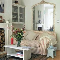 Coastal slipcover sofa with large mirror