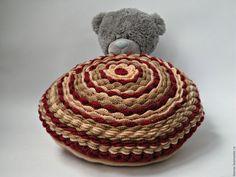 Текстиль, ковры ручной работы. Ярмарка Мастеров - ручная работа. Купить Интерьерная подушечка. Handmade. Бордовый, вязанная подушка, интерьер