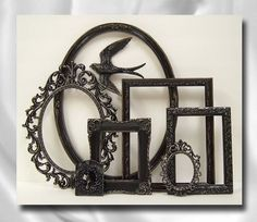 Shabby Chic Frame Black Picture Frames Set by MountainCoveAntiques, $89.00