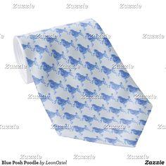 Shop Blue Posh Poodle Neck Tie created by LeonOziel. Custom Ties, Unique Image, Business Supplies, Poodle, Night Out, Pattern, Gifts, Blue, Design