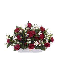 Jardinera Todos los Santos. Jardinera de cerámica para cementerio con flores artificiales. Rosas rojas, flores y hojas relleno. Plana por detrás. Alto 18 cms.
