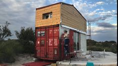 Tiny Shipping Container Home - Spain - Container Hacker Shipping Container Design, Cargo Container Homes, Building A Container Home, Container Buildings, Container House Design, Shipping Containers, Container Homes Australia, Dome House, Earth Homes