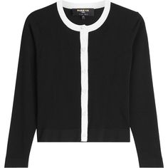 Paule Ka Two-Tone Cardigan ($339) ❤ liked on Polyvore featuring tops, cardigans, black, slim fit cardigan, crop top, round neck cardigan, slimming tops and button front cardigan