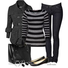 DEAR CASHMERE Black/Grey Striped 3/4 Sleeve Cashmere-Blend Carmen Pullover