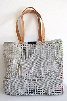 CROCHET TOTE BAG Shoulder Handles Bag de White Sheep por DaWanda.com