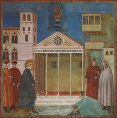 Franziskus wird von einem einfachen Mann geehrt: Ein einfacher Mann aus Assisi breitet die Gewänder vor dem Heiligen Franziskus auf dem Boden aus und erbietet seinem Schritt Ehre und bestätigt obendrein, daß Franziskus von Gott inspiriert und jeglicher Reverenz würdig sei, da er bald großartige Dinge vollbringen und deshalb von allen geehrt werden müsse