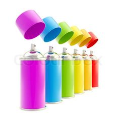 Rainbow colored spray oil color cylinders isolated on white