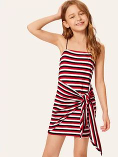To find out about the Girls Tie Waist Striped Slip Dress at SHEIN, part of our latest Girls Dresses ready to shop online today! Cute Girl Outfits, Kids Outfits Girls, Cute Summer Outfits, Little Girl Dresses, Girls Dresses, Dress Girl, Preteen Girls Fashion, Girls Fashion Clothes, Teen Fashion Outfits