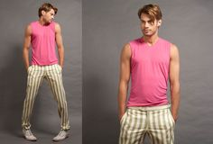 Wolf vs Goat V-neck Muscle Shirt in Raspberry, Riviera Pant in Lime Stripe Twill.